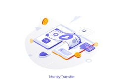 Conceptual template with two cellphones sending and receiving dollar banknote and coins. Mobile wireless touch technology for money transfers, digital transactions. Isometric vector illustration.