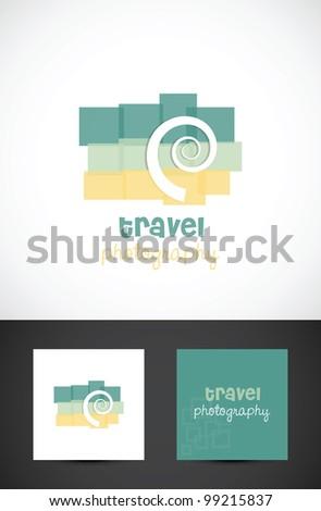 Conceptual travel photography icon such logo, vector design