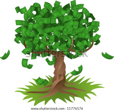 Conceptual vector illustration. Money growing on a tree, representing perhaps green environmental investments or the growth of any savings or investment.