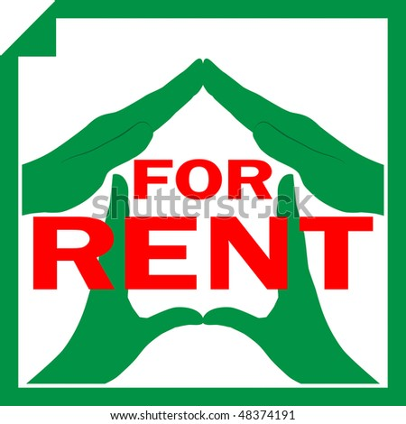Conceptual vector illustration of a house symbol made from hands with sign FOR RENT overlayed on it