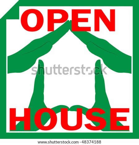 Conceptual vector illustration of a house symbol made from hands with sign OPEN HOUSE overlayed on it