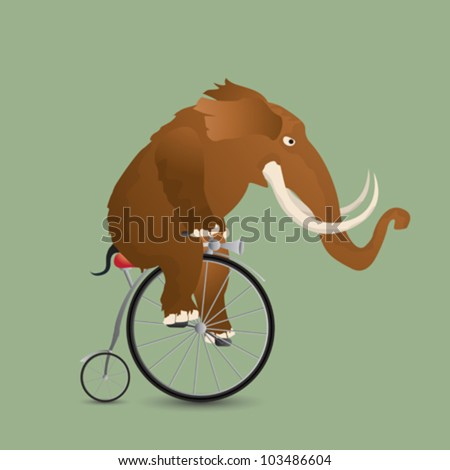 Conceptual vector illustration of a mammoth on a bicycle. - stock vector