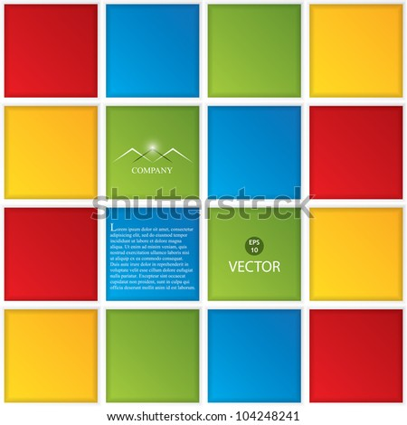 Conceptual vector illustration of colorful boxes with space for your text