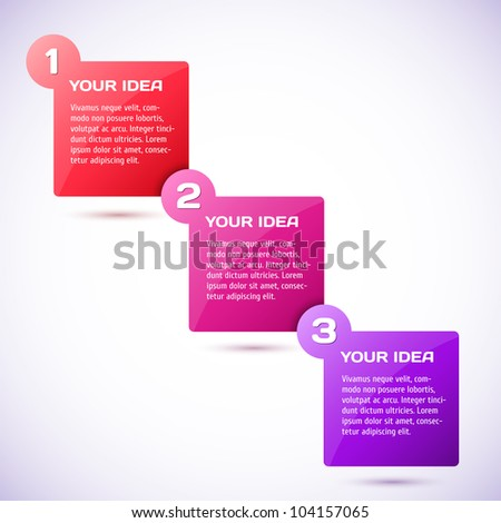 Conceptual vector illustration of colorful cubes with arrows and place for your text. Usable for different business design. Progress background / product choice or versions.