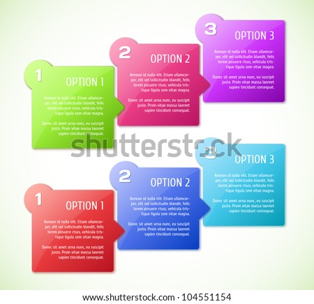 Conceptual vector illustration of colorful cubes with arrows and place for your text. Usable for different business design.