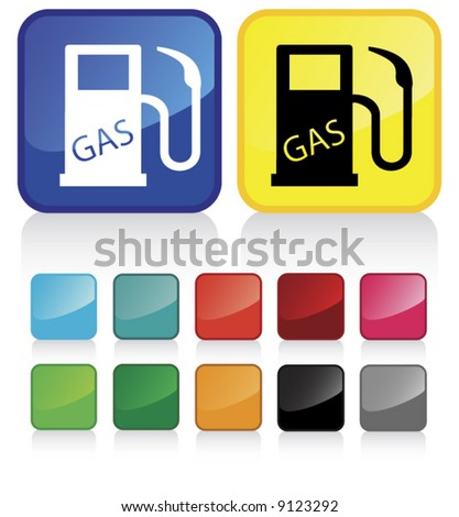 Conceptual vector illustration of gas pump  button web2.0 - check my gallery for more. proposed colors