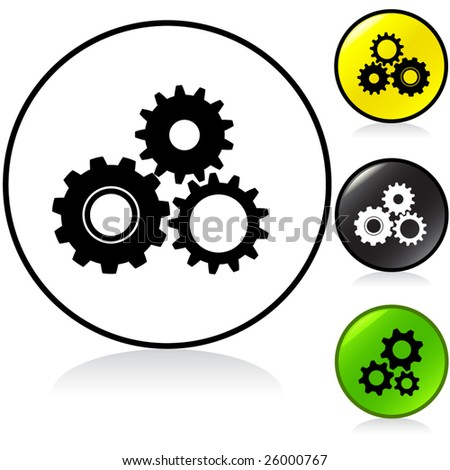 Conceptual vector illustration of gears or cogwheels round button. proposed colors