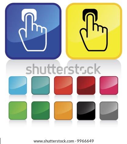 Conceptual vector illustration of hand index finger pointing button web2.0 - check my gallery for more. proposed colors