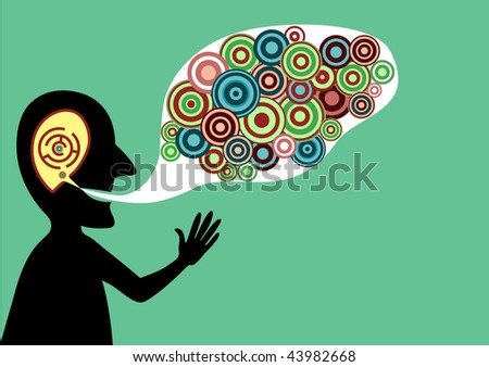 Conceptual vector illustration of speaking man with good ideas