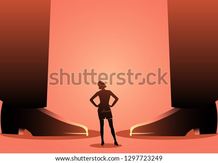 Conceptual vector of a business woman standing between giant men's legs. Authority, gender issue in business concept
