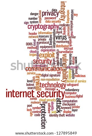 Conceptual vector of tag cloud containing words related to internet security, networking and privacy. Also available as raster.