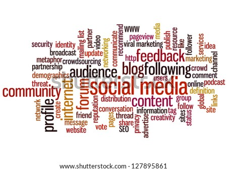 Conceptual vector of tag cloud containing words related to social media, marketing, blogs, social networks and Internet. Also available as raster.