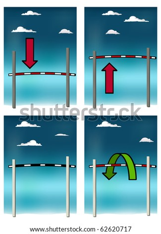 Conceptual vector set with high jump bar symbolizing lower the bar, raise the stakes etcetera