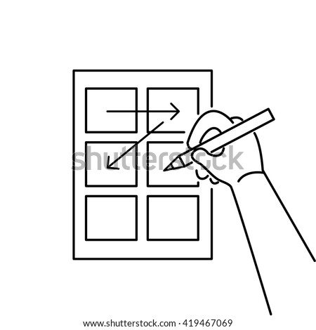 Conceptual vector storyboard icon of hand drawing creative sketches. modern flat design marketing and business linear illustration and infographic concept black on white background