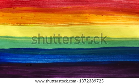 Conceptual vector watercolor poster design for celebration of LGBTI rights and parades with rainbow colors