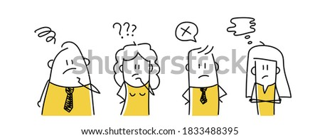 Concerned office workers. Hand drawn vector illustration. Photo stock ©