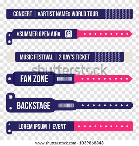 Concert bracelets for entrance to the event. Set of wristbands for entrance to the festival, concert. Vector bracelet mockup