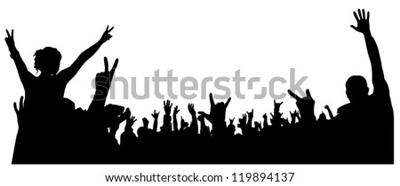 Concert Crowd Silhouette on white background Stock photo ©