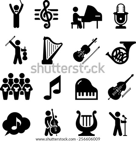 Concert hall and musical performance icons