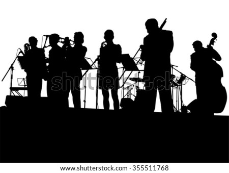 concert of jazz music on white