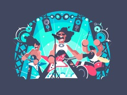 Concert of rock band with guitar and drum set. Vector illustration