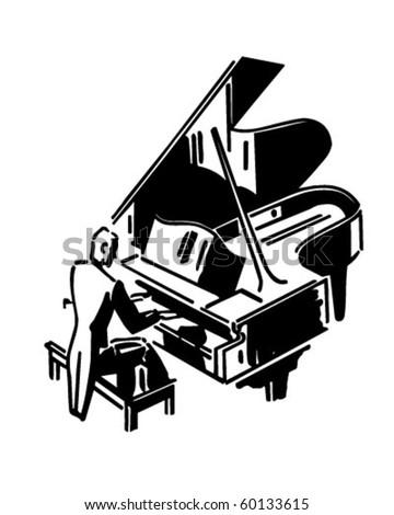 Concert Pianist - Retro Clip Art
