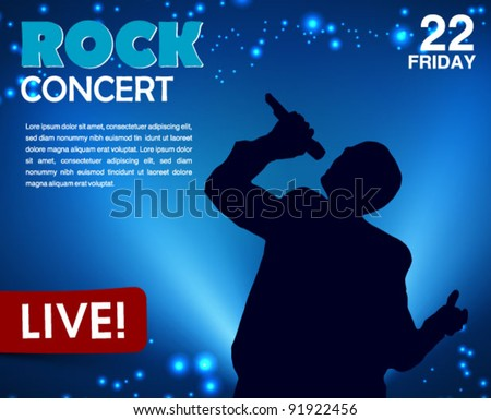 concert poster with a singer - stock vector