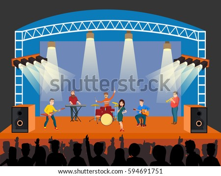 Concert scene with band pop. Festive design, poster template. Rock musicians on stage playing impressive music. Vector