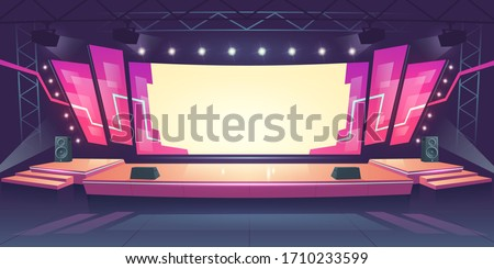 Concert stage with screen illuminated by spotlights. Vector cartoon illustration of empty scene for rock festival, show, performance or presentation. Podium stage with truss, music and light equipment