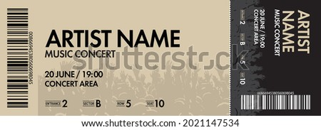 Concert ticket template. Concert, party or festival ticket design template with crowd of people in background. Vector