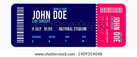 Concert ticket vector template. Concert, party or festival ticket design template. Vector illustration