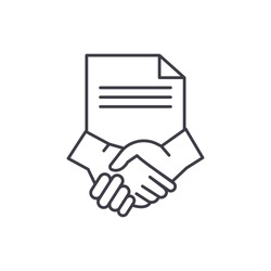 Conclusion of a contract line icon concept. Conclusion of a contract vector linear illustration, symbol, sign