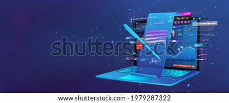 Conclusion of a transaction online with a digital signature. Remote business concept. Electronic signature and high level of security. Notebook and images of a contract hologram for signature. Vector