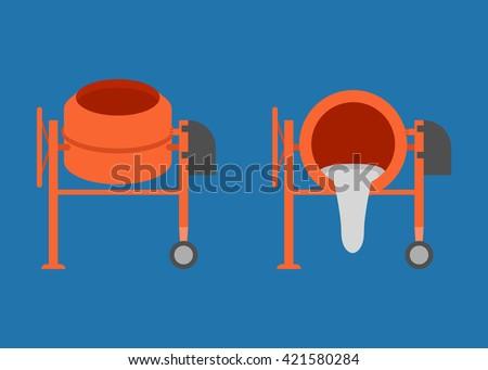Concrete mixer icon, cement mixer vector, pouring cement