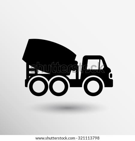 concrete mixer icon vector