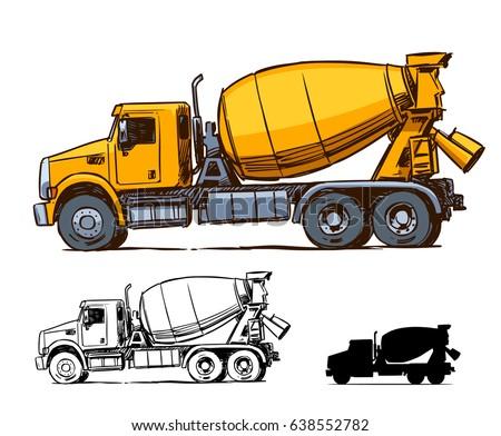 concrete mixer truck side view