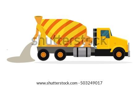concrete mixing truck vector