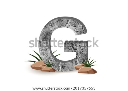 concrete Textured letter G isolated on white background, Alphabet, Cracked surface, Textured materials, Cement object, 3D rendering. Stock fotó ©