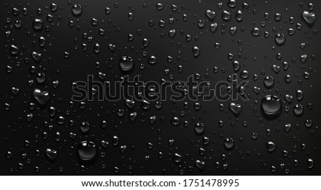 Condensation water drops on black glass background. Rain droplets with light reflection on dark window surface, abstract wet texture, scattered pure aqua blobs pattern Realistic 3d vector illustration