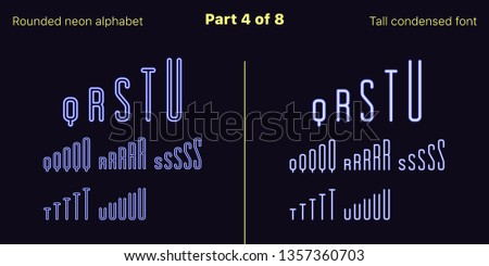 Condensed blue neon font, Rounded. Vector typefaces set in outlined and filled styles, Part 4 of 8. Neon uppercase alphabet with narrow letters, numbers and symbols. For banner and display headlines