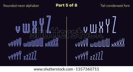 Condensed blue neon font, Rounded. Vector typefaces set in outlined and filled styles, Part 5 of 8. Neon uppercase alphabet with narrow letters, numbers and symbols. For banner and display headlines