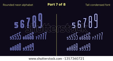 Condensed blue neon font, Rounded. Vector typefaces set in outlined and filled styles, Part 7 of 8. Neon uppercase alphabet with narrow letters, numbers and symbols. For banner and display headlines