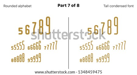 Condensed bold sans serif font, Rounded. Vector golden typefaces, Part 7 of 8. Set of tall uppercase alphabet with narrow letters, numbers and symbols. For poster headline, display and landing page