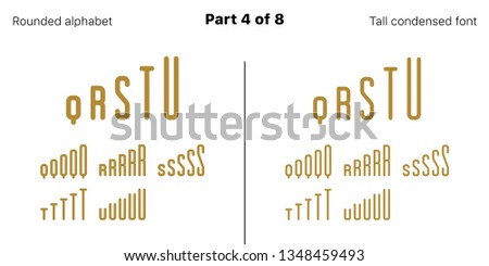 Condensed bold sans serif font, Rounded. Vector golden typefaces, Part 4 of 8. Set of tall uppercase alphabet with narrow letters, numbers and symbols. For poster headline, display and landing page