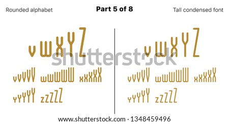 Condensed bold sans serif font, Rounded. Vector golden typefaces, Part 5 of 8. Set of tall uppercase alphabet with narrow letters, numbers and symbols. For poster headline, display and landing page