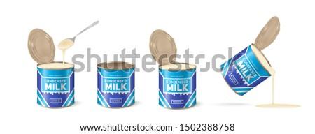 Condensed milk. Set metal tin. Realistic vector illustration on white background Photo stock ©