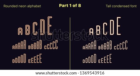 Condensed orange neon font, Rounded. Vector typefaces in outlined and filled styles, Part 1 of 8. Neon uppercase alphabet with narrow letters, numbers and symbols. For banner and display headlines