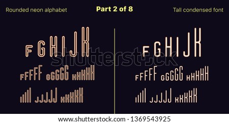 Condensed orange neon font, Rounded. Vector typefaces in outlined and filled styles, Part 2 of 8. Neon uppercase alphabet with narrow letters, numbers and symbols. For banner and display headlines