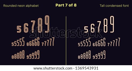 Condensed orange neon font, Rounded. Vector typefaces in outlined and filled styles, Part 7 of 8. Neon uppercase alphabet with narrow letters, numbers and symbols. For banner and display headlines