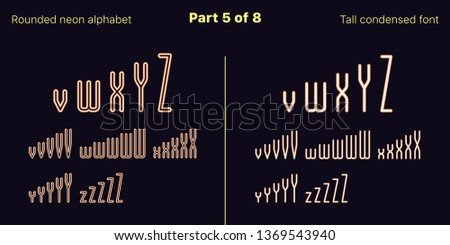 Condensed orange neon font, Rounded. Vector typefaces in outlined and filled styles, Part 5 of 8. Neon uppercase alphabet with narrow letters, numbers and symbols. For banner and display headlines